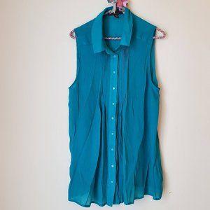 FEVER | Sleeveless Textured Button-Down Blouse 🌺